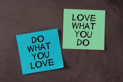 'Love What You Do and Do What You Love' notes pasted on blackboard. Dopkins is hiring!