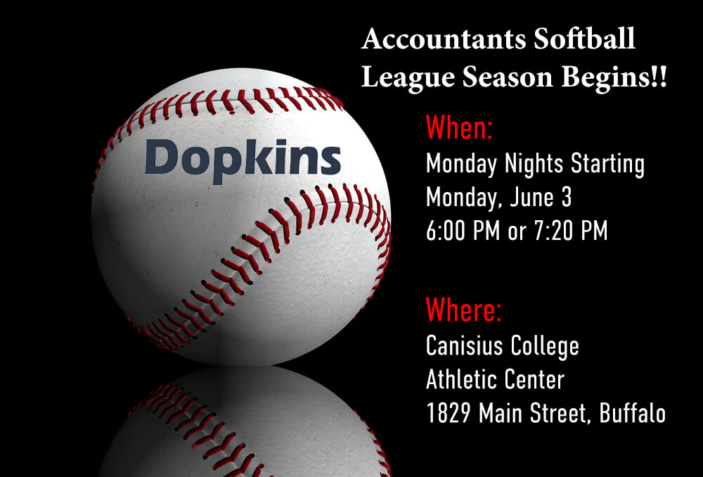 Dopkins Softball League announcement June 3 - July 29 at Canisius