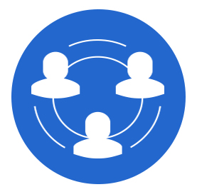 Blue circule with illustrations of white figures indicating people/team/connectivity
