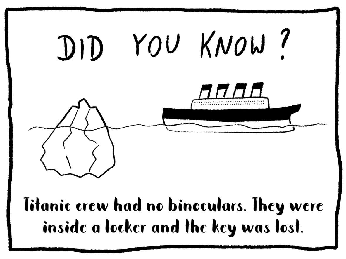 Drawing of a ship with a fact statment about the Titanic's ship having no binoculars- a warning about preparedness
