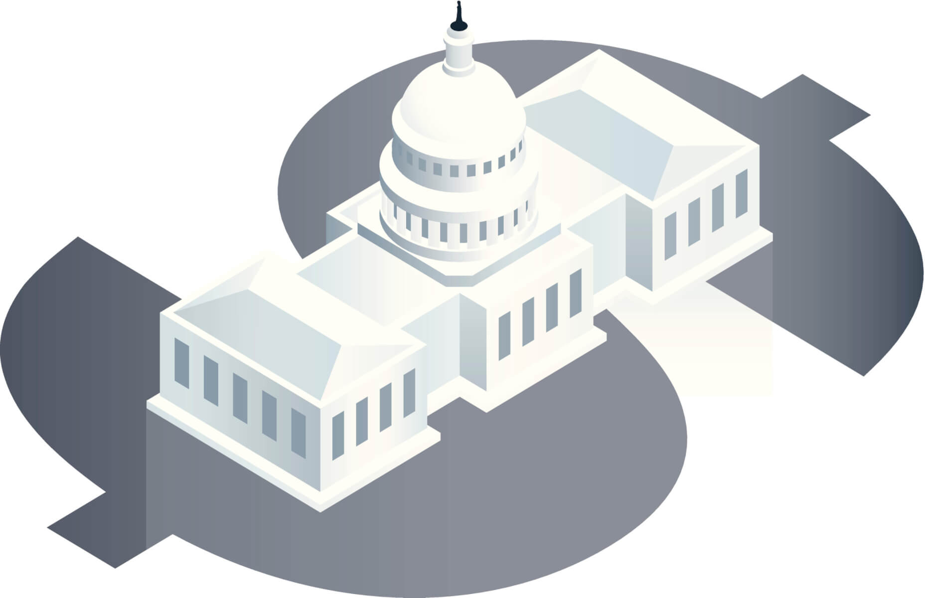 Vector Illustration of a simplified United States Capitol Building presented on a large dollar sign.