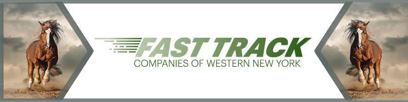 header showing running horses, indicating speed. Text stating Fast Track Companies of WNY
